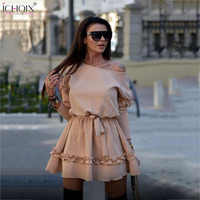 ICHOIX 2019 Spring Winter Mini Dress Women Off Shoulder Sexy Party Dress Casual Solid Color Ruffle dresses For Ladies Vestidos