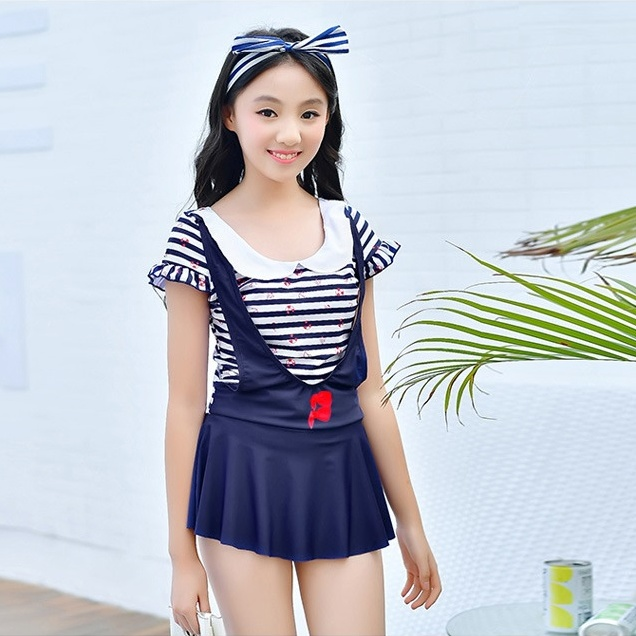 New Summer Sweet Stripe Kids Swimsuit High Quality One-piece Skirt Design Girl Surfing Swimwear Bathing Suit Children Beachwear baby girls summer cotton princess top quality kids sleeveless dress children wedding party clothes girl christmas prom dress