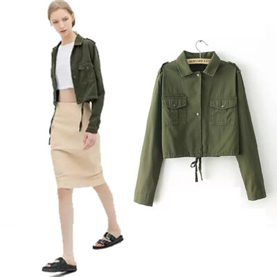 Fall Jackets For Women 2014 Army Green Lady Cotton Casual Short ...