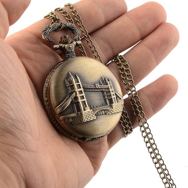 Cindiry Bronze Quartz Men Pocket Watch Necklace Gift Quartz Watch Tower of London Bridge Necklace Pendant