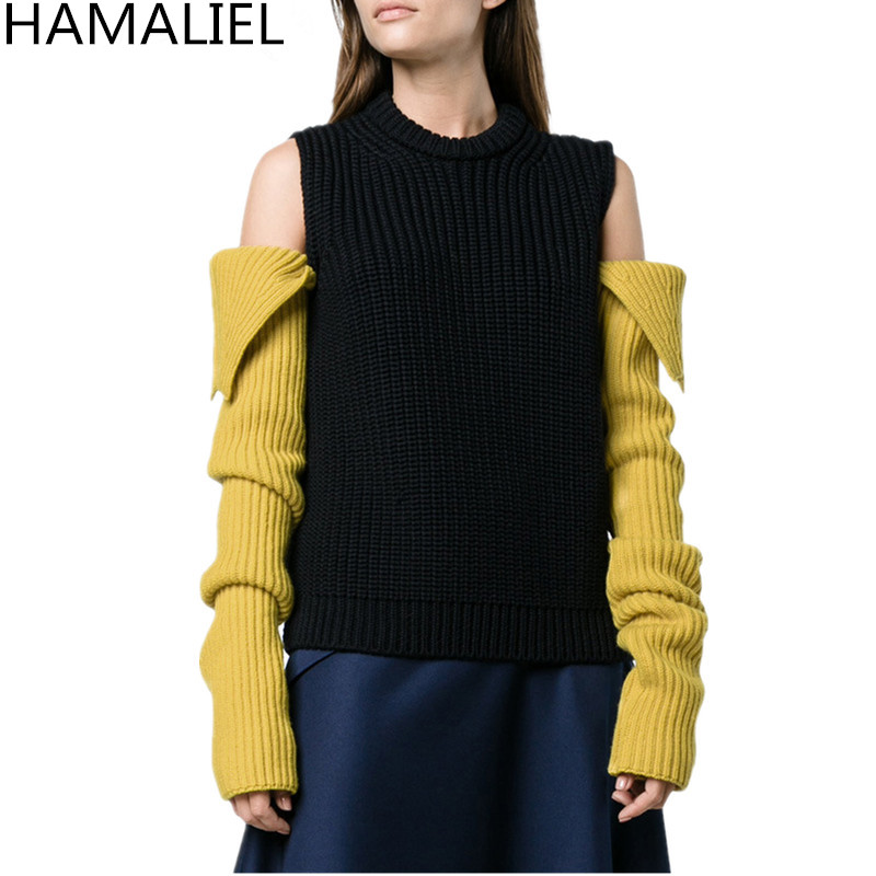 HAMALIEL Sexy Off Shoulder Knitted Women Sweaters Jumpers 2018 Runway Autumn Patchwork Long Sleeve Casual O Neck Pullovers Top