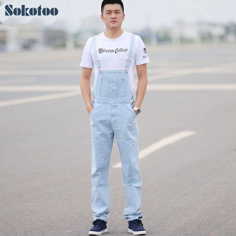 erityinen osa myynti vähittäiskauppias erilaisia muotoiluja US $38.25 15% OFF|Sokotoo Men's light blue white denim bib overalls Male  casual straight slim jumpsuits Jeans Free shipping-in Jeans from Men's ...