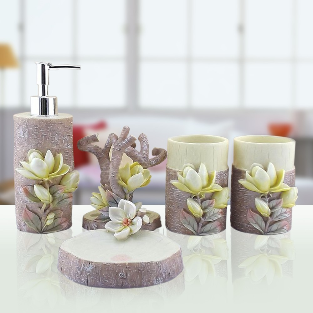 Hand Engraved Plant 5Pcs Lily Sculpture Resin Bathroom Accessories ...