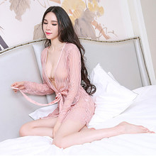 c010f1203445 Sexy underwear ordinary nightdress sexy lace sling stripe pajamas  perspective large size ladies temptation suit sale