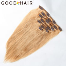 "Clip Hair Brazilian Remy Straight Blonde Hair Clip In Human Hair Extensions 85G 27# 7Pcs/Set 14"" 18"" Full Head Set GOOD HAIR(China)"