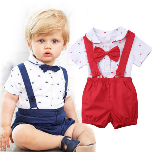 2018 Newborn Toddler Kids Baby Boy Girl Dot Bowknot Romper
