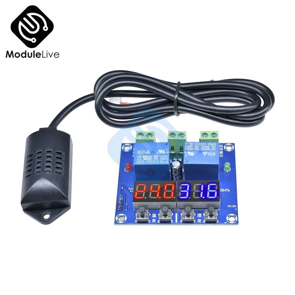 XH-M452 Hoge Precisie Dc 12V 10A Digitale Led Dual Output Temperatuur En Vochtigheid Controller Module Met SHT20 Sensor