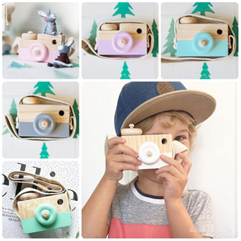 Mini Wooden Camera Toy Cartoon Baby Toys Kids Creative Neck Photography Prop Decoration Child Playing House Tool