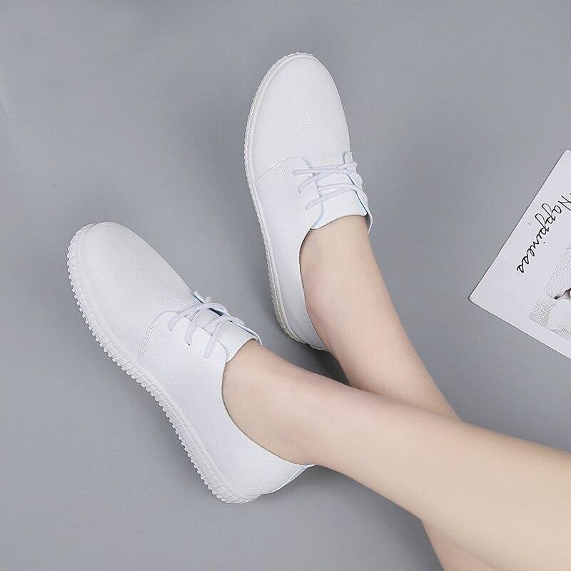 Transpirable Zapatillas 2018 Guisantes Más Nuevo Tamaño Planos Tenis Cuero Mujer Femenino De Enfermera Deporte Pu Zapatos S8U8w