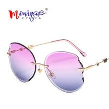 ac7af3ea1318 MONIQUE ORENDA Oversized Sunglasses Women Oval Vintage Rimless Cupid's  arrow Shoot