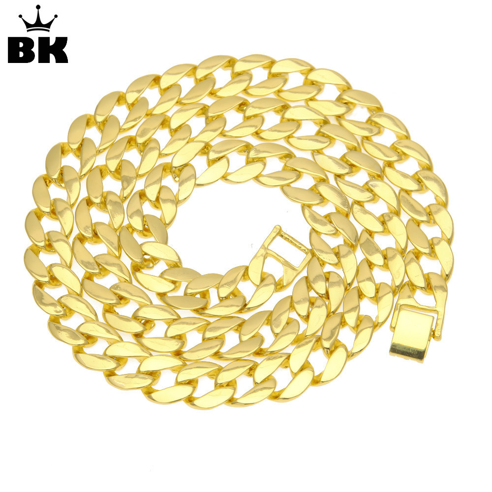 2018 Miami Cuban Link Men Necklace New Arrival Promotion Hip Hop Gold Color Iced Out Trendy Jewelry