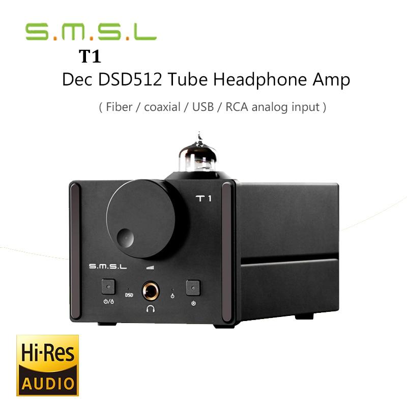 2017 New Decoder SMSL T1 Tube Headphone Amplifiers AK4490EQ+CM6632A DAC DSD512 384KHZ/32Bit OPTIC/Coaxial/XMOS/USB Analog Input smsl sd 793ii dir9001 pcm1793 opa2134 coaxial optical mini dac headphone amp black color