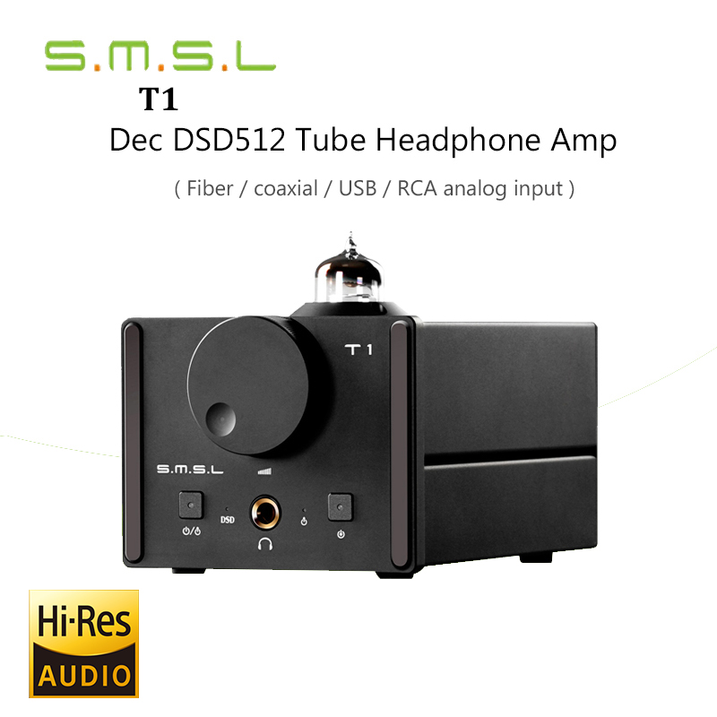 2017 New Decoder SMSL T1 Tube Headphone Amplifiers AK4490EQ+CM6632A DAC DSD512 384KHZ/32Bit OPTIC/Coaxial/XMOS/USB Analog Input