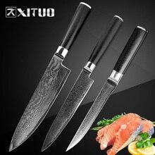 XITUO 3pcs Damascus Knife Set Japanese vg10 Steel 67 Layers Chef Slicing Boning Utility Kitchen Knives Sashimi Fish New