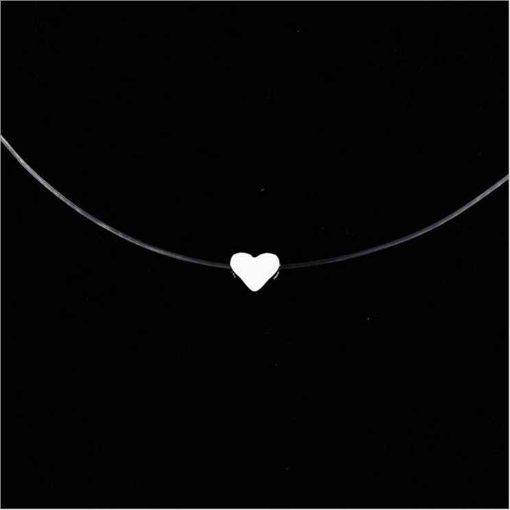 12 Style 8MM Zircon Alloy Star Heart Female Transparent Fishing Line Chain Pendant Necklaces Women Fashion Jewelry