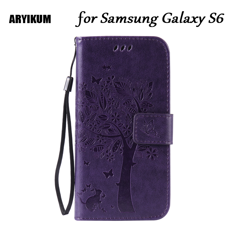 ARYIKUM Luxury Silicone Back Covers Coque For <font><b>Samsung</b></font> Galaxy S6 G920 <font><b>G920f</b></font> <font><b>SM</b></font>-<font><b>G920f</b></font> Wallet <font><b>Cases</b></font> For Sansung S6 S 6 Capa image