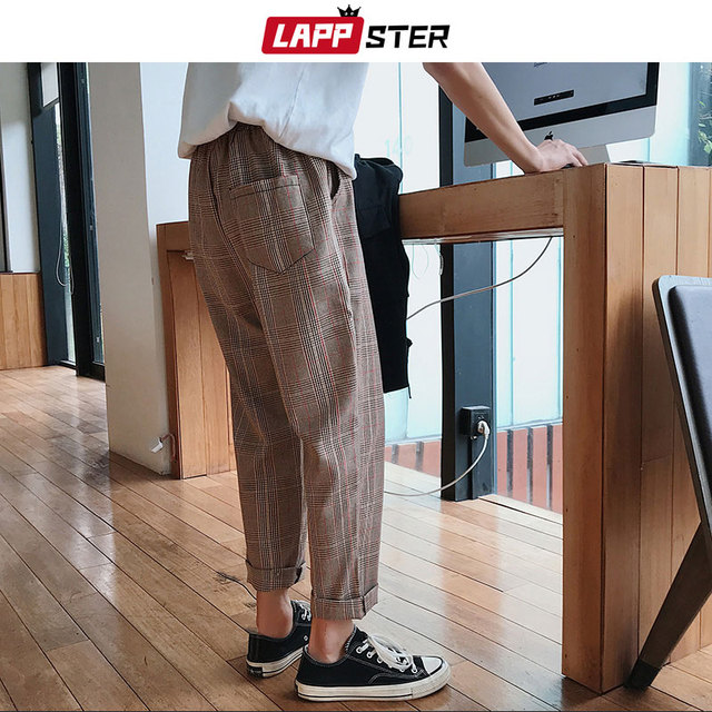LAPPSTER Streetwear Yellow Plaid Pants Men Joggers 2020 Man Casual Straight Harem Pants Men Korean Hip Hop Track Pants Plus Size 2