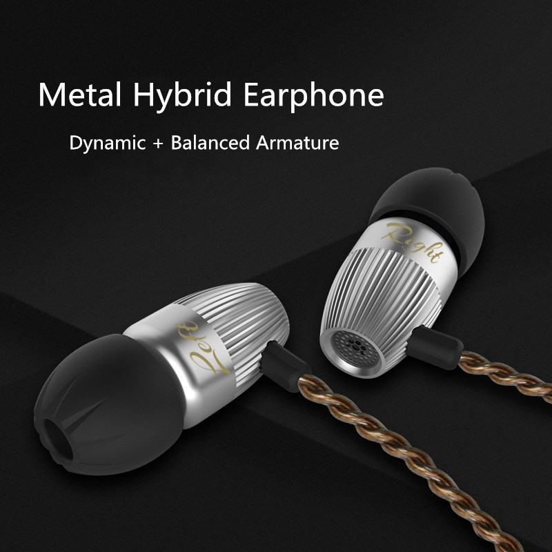 Brand KZ Hi fi Stereo Earphone KZ ED15 in- ear Metal Hybrid Earbuds 1BA + 1DD Bass Headset Earphones for Xiaomi/Samsung/iPhone