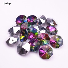 50Pcs/lot 14mm Octagon Beads With Two Hole  Glass Loose Beads For Prisms Chandelier accessories fit Making Crystals Curtains 2000 lot 14mm colorful crystal glass beads in 1 hole for crystal chandelier parts home decoration
