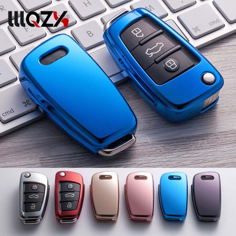 New Gift TPU Bright Plating Soft Silicone Car Key Case For Audi Q3 A4L A6L Q5 Q7 A1 A3 Flip Key Cover 6 Color Car Accessories
