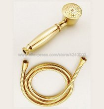 Gold Color Brass Telephone Style Bathroom Shower Head Water Saving Hand Held Shower Head Spray &1.5m Hose Kxz044 цена в Москве и Питере