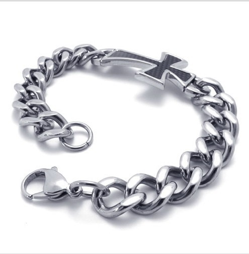 Width 23mm Fashion High Quality 316L Stainless Steel Men Bracelet with Black Cross for Best Gift