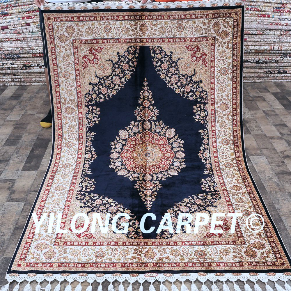 Yilong 4 X6 2 Blue All Over Living Room Floral Area Hand Knotted
