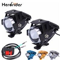 2Pcs 125W Motorcycle LED Headlight Waterproof LED Fog Light 3000LM U5 Cree Chip Motorbike Driving Spot