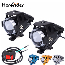 2Pcs 125W Motorcycle LED Headlight Waterproof LED Fog Light 3000LM U5 Chip Motorbike Driving Spot Head
