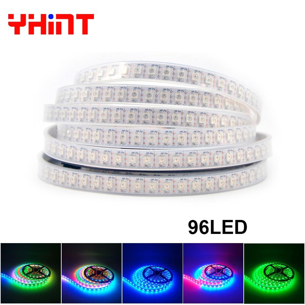 96led per meter 1m2m3m5m Black/White PCB WS2812B IP30/IP65/IP67 Smart RGBW color intrigue led pixel striscia strip
