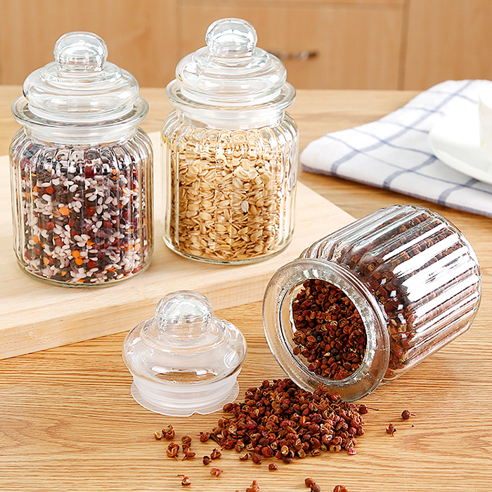 Glass Sealed Cans Food Storage Jar Spice Teas Beans Candy Preservation Bottle Condiments Bottles Kitchen Tools