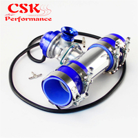 30 PSI Adjustable Turbo Blow Off Valve +Type RS 2.25 Flange Pipe Adapter Kit Black / Blue / Silver