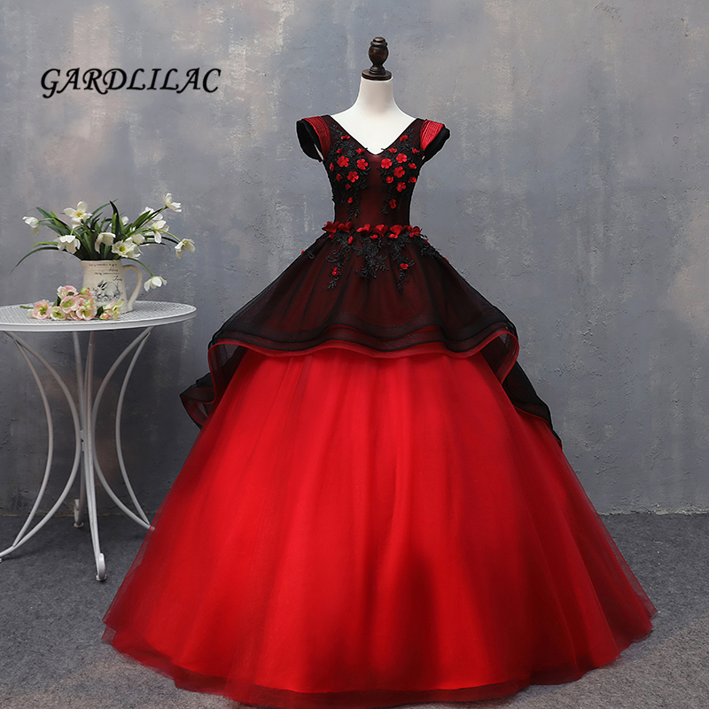Hot Sale Black Red Ball Gown Quinceanera Dresses 2019 Long Prom Gown Lace Appliques Beaded Puffy