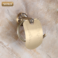 XOXO Bathroom Toilet Paper Holder With Cover Antique Brass Roll Tissue Rack Carved Pattern Base Paper Shelf Wall Mounted15086B