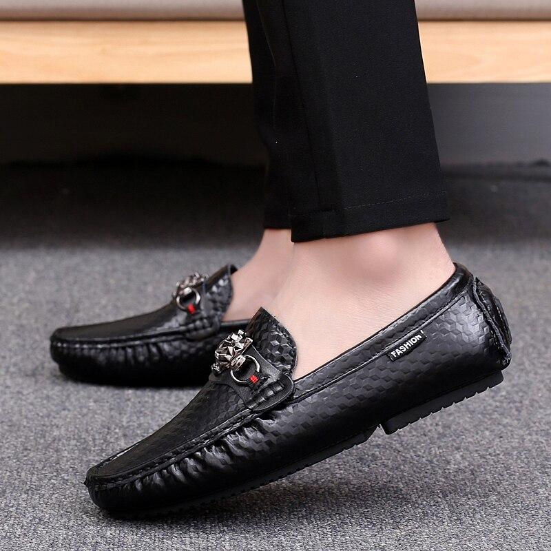 Chaussures Pour Hommes Noir Cuir Blanc Hei Se Slip Mode Automne bai En Plat on Printemps Pu Casual Homme Conduite Se Mocassins Confortable xnw0CFgqY