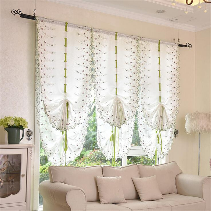 1pc semishade roman curtains pink and white colors of dfferent sizes rose printed pastoral wind curtains