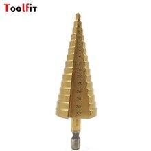 Toofit 1 pc Titanium Passo Brocas HSS Aço Passo Cone de Madeira Ferramentas de Corte de Madeira de Aço De Perfuração De Metais 3-12 4-12/20/32mm