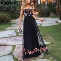 BeAvant Sexy strap mesh black dress women Backless flower embroidery long dress female 2018 Autumn winter party dresses vestidos