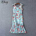 Brand New 2017 Summer Runway Fashion Sling Dress Ruffles Bow Floral Printed Dresses Women Mermaid Beading Midi Dresses