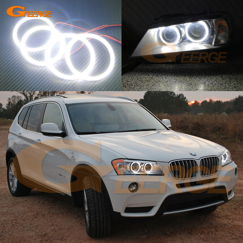 For BMW X3 F25 2010 2011 2012 2013 2014 xenon headlight Excellent Angel Eyes Ultra bright illumination smd led Angel Eyes kit 2pcs purple blue red green led demon eyes for bixenon projector lens hella5 q5 2 5inch and 3 0inch headlight angel devil demon