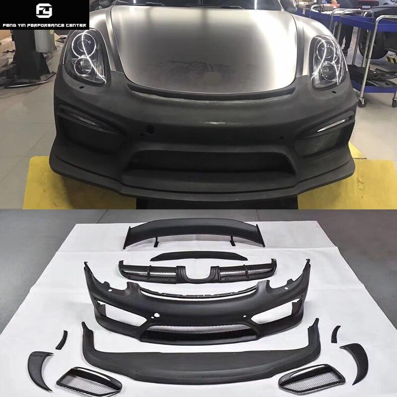 981 GT4 Стиль FRP передний бампер задний диффузор задний спойлер Крылья для Porsche Boxster Cayman 981 изменение GT4 Комплект кузова
