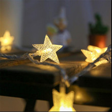 7.5M 50Leds Star Shaped LED Fairy String Lights Battery Operated Holiday Christmas Party Wedding Decoration