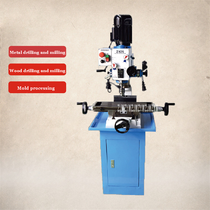 ZX25 Multi function Drilling And Milling Machine Small Industrial Machine Tool Desktop Metal Drilling Milling Machine 220V/110V Drilling Machine     - title=