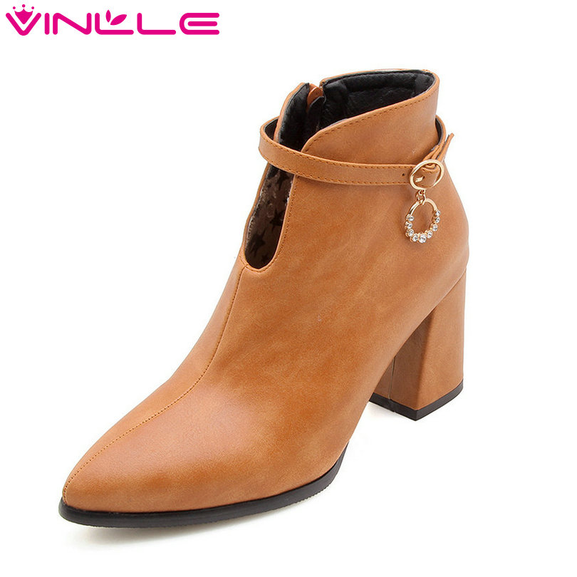 VINLLE 2019 Women Ankle Boots Fashion Women Shoes Platform