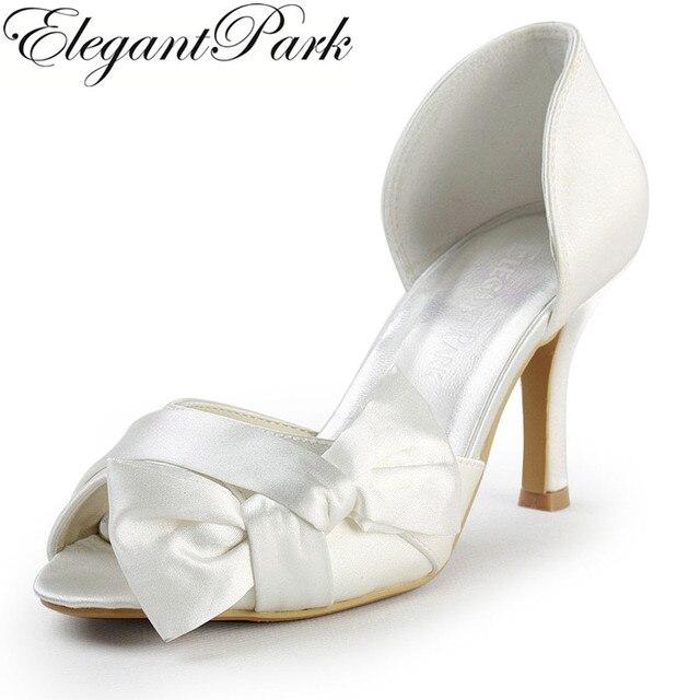 Zapatos peep toe de seda y satén blanco con flor rojo eFAcU