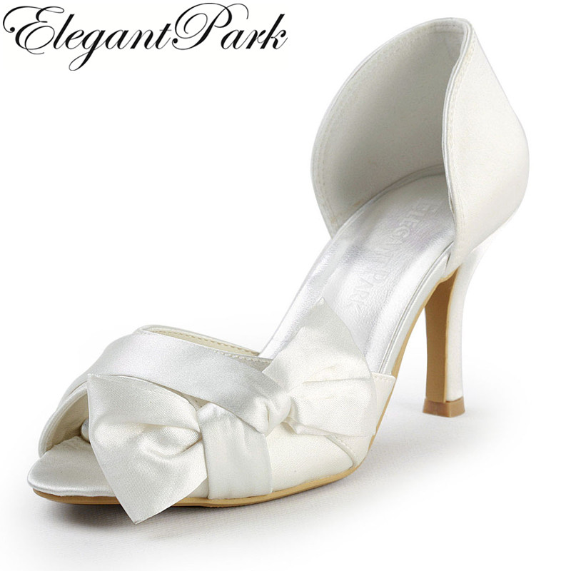 EP2046 Ivory Red White High Heel Women Shoes Wedding Sandals Peep Toe Bowknots Satin D'orsay Ladies Bridal Evening Party Pumps free shipping ep2114 3 white women peep toe evening bridal party pumps sandals rhinestones satin wedding shoes