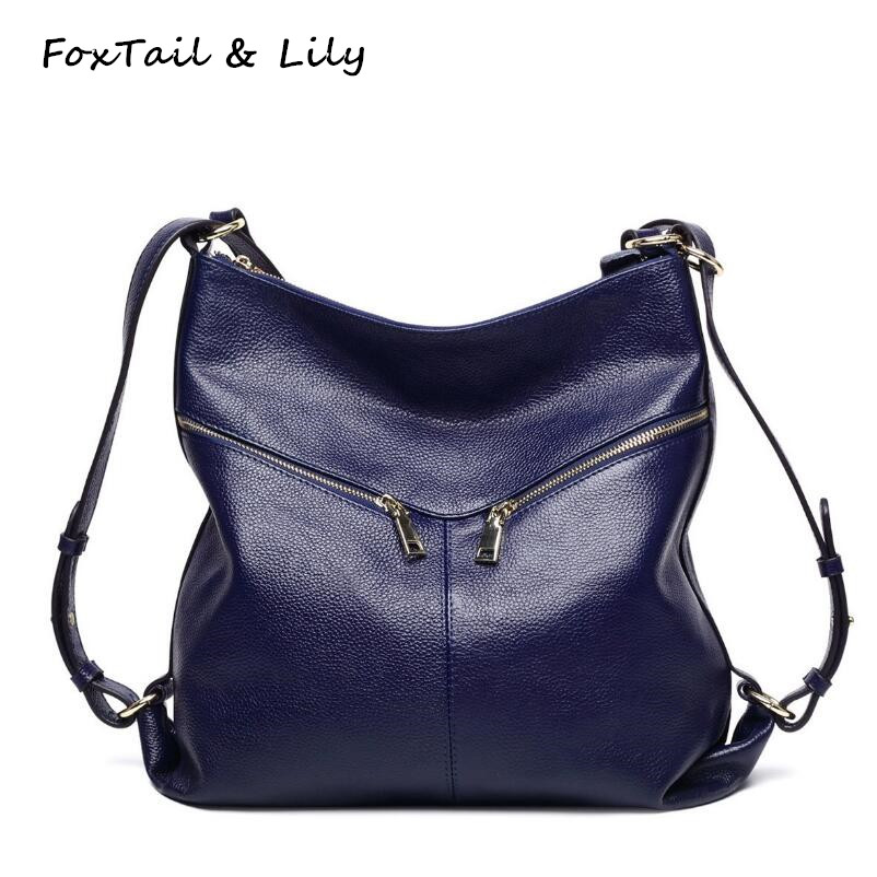 FoxTail Lily Genuine Leather Backpack New Fashion Women Real Leather Shoulder Bags Multifunctional School Backpacks for