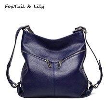 Лисохвост и Лили натуральная кожа рюкзак новые модные женские туфли из натуральной кожи сумки на плечо многофункциональный школьные рюкзаки для девочек