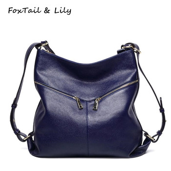 FoxTail & Lily Genuine Leather Backpack New Fashion Women Real Leather Shoulder Bags Multifunctional School Backpacks for Girls