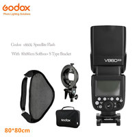 Godox V860ii photographic Speedlite Cameras Flash+S Type Bracket Bowen Mount Holder with 80x80cm Flash Soft Box Kit